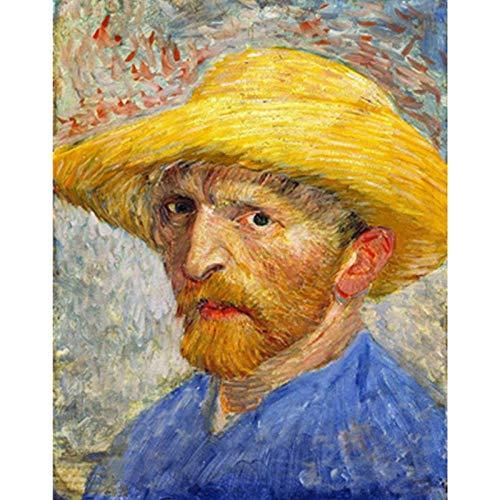 Schilderen door cijfers Kits voor volwassenen Beginners Acryl Van Gogh in een strohoed Figuur Kleur Canvas Bruiloft Decoratie Art Picture Gift 40X50Cm voor kinderen Zhxx Without Frame