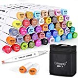 Alcohol Art Markers , Emooqi 50 Colors Double Tipped Permanent Art Marker Set ,1 Colorless Marker Blender , Coloring Drawing Sketching Card Making Illustration .