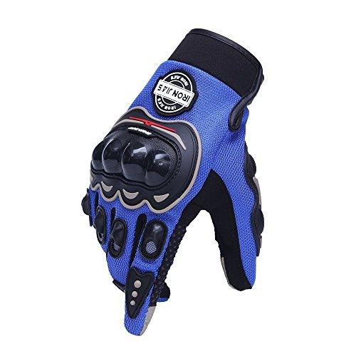 IRON JIA'S Guanti Moto Off Road professionali che corrono i guanti da moto guanti goccia resistenza touch screen Guanti guantes luvas (XL, blue)