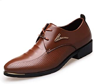 Dongxiong Increase the trend of leisure in the autumn of pointed British men's shoes groom's wedding shoes (Color : Brown, Size : 46 EU)