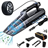 Car Vacuum Cleaner Tire Inflator,4-in-1 Portable Vacuum Cleaner for Car - with LCD Display and LED Light 12V DC Wet/Dry Wet/Dry Handheld Cleaner (Digital Display)