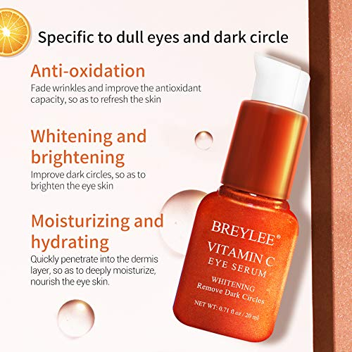 51W2c7tFFWL - Vitamin C Eye Serum, BREYLEE Whitening Eye Treatment for Dark Circles and Wrinkles Removal Anti Aging Moisturizing Eye Essence for Fine Lines Organic Eye Care with Hyaluronic Acid(20ml,0.71fl Oz)