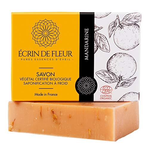 Écrin De Fleur – Savon Bio à la Mandarine - Savon Certifié Bio par Ecocert, Savon Surgras Saponifié à Froid à l'Huile Essentielle de Tangerine, Savon