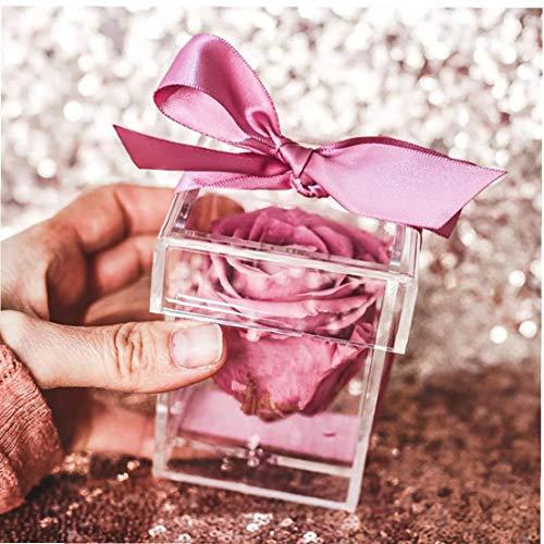 Naicasy 1PC Plexiglas Blumen-Kasten-Ring-Halter-dekoratives Quadrat Rose Pot Hochzeit Blumen-Geschenk-Kasten-Verfassungs-Organisator