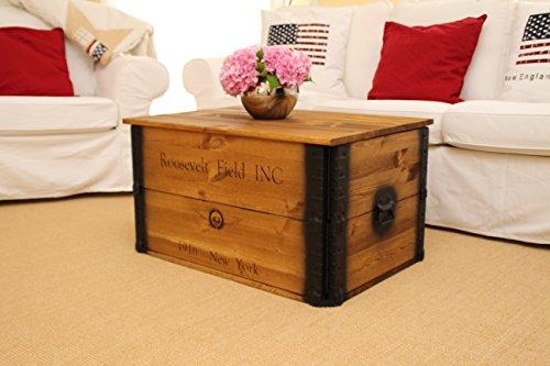 Uncle Joe´s Truhe Roosevelt Couchtisch Truhentisch im Vintage Shabby chic Style Massiv-Holz in braun mit Stauraum und Deckel Holzkiste - 2