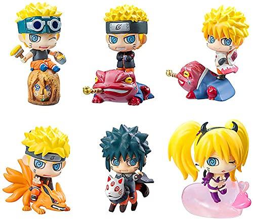 Figura de anime Naruto Doll, juego de 6 lindo creativo 6 cm Pvc personaje de dibujos animados de anime Escultura de juguete Colección de decoración de oficina en casa