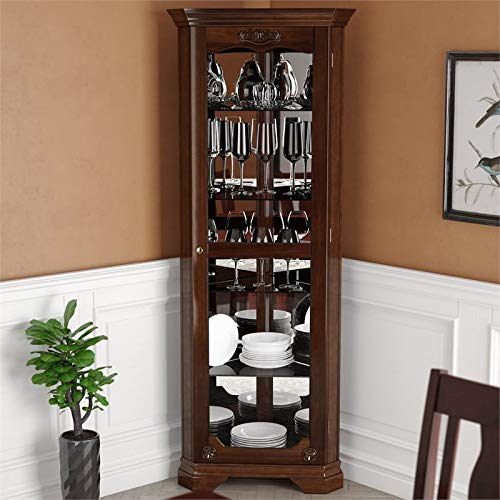 Pemberly Row Corner Glass Door Curio Cabinet with 5 Tier Tempered Glass Shelves, Walnut