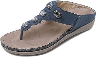 Minetom Women's Open Toe Sandals Summer Bohemia Rhinestone Flower Bead Folk Slippers Boho Beach Flip Flops T-Strap Post Thong Flat Clip Toe Shoes