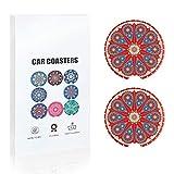 Car Coasters 2 Pack Absorbent Mandala Ceramic Car Cup Holder Insert Coasters, 2.56''(Red/Blue)