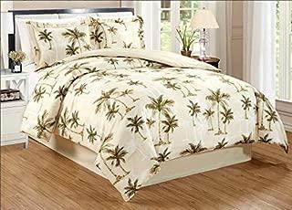 4-Piece Queen Size Fine Printed Tropical Palm Tree Comforter Set Reversible Goose Down Alternative Bedding (Beige, Sage Green, Brown)