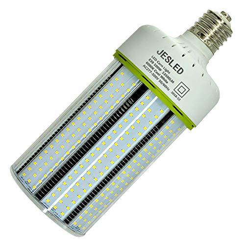 JESLED 347v LED Corn Bulb - 100W Cob Light, E39 Mogul Base, 6000K Cool White, 13500LM, 400 Watt Equivalent, CFL HID HPS MH Replacement for Factory Warehouse Workshop Bay Lighting, AC277-500V Input