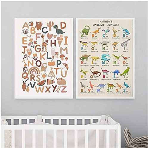 FUXUERUI Dibujos animados alfabeto sol dinosaurio León pájaro lienzo pared arte impresión cartel e imágenes para decoración de sala de estar,40x60cmx2 sin marco