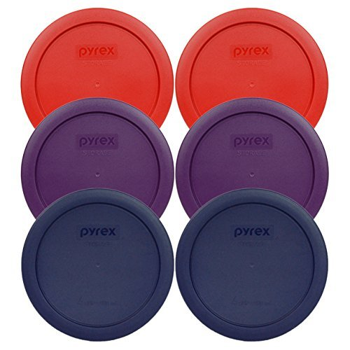 Pyrex 7201-PC Round 4 Cup Storage Container Lids for Glass Bowls (2-Poppy Red, 2-Purple, 2-Navy Blue) by Pyrex