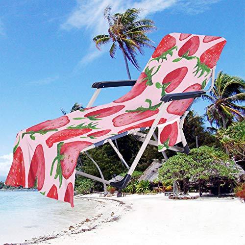 Fruta Impresión Toalla de Playa Funda de Silla de Playa Portátil Microfibra Funda de Silla de Playa de Secado Rápido con Bolsillos para Tomar El Sol en Vacaciones en La Playa (Color 4, 75 × 210 cm)
