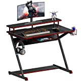 HOMOOI Gaming Desk Z-Shaped Carbon Fiber Desktop with Monitor Riser Cup Gamepad and Headphone Holder for Home Office 100x60x84cm CD310001CB