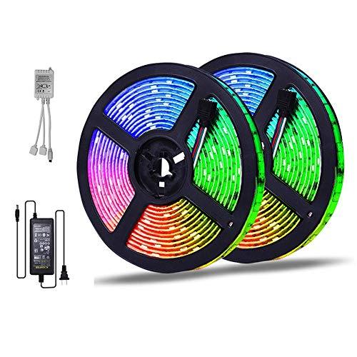 Tiras de luz LED RGB de 16.4 pies con controlador Bluetooth, banda de luz flexible impermeable IP65 para TV, dormitorio, fiesta, decoración del hogar, 300light