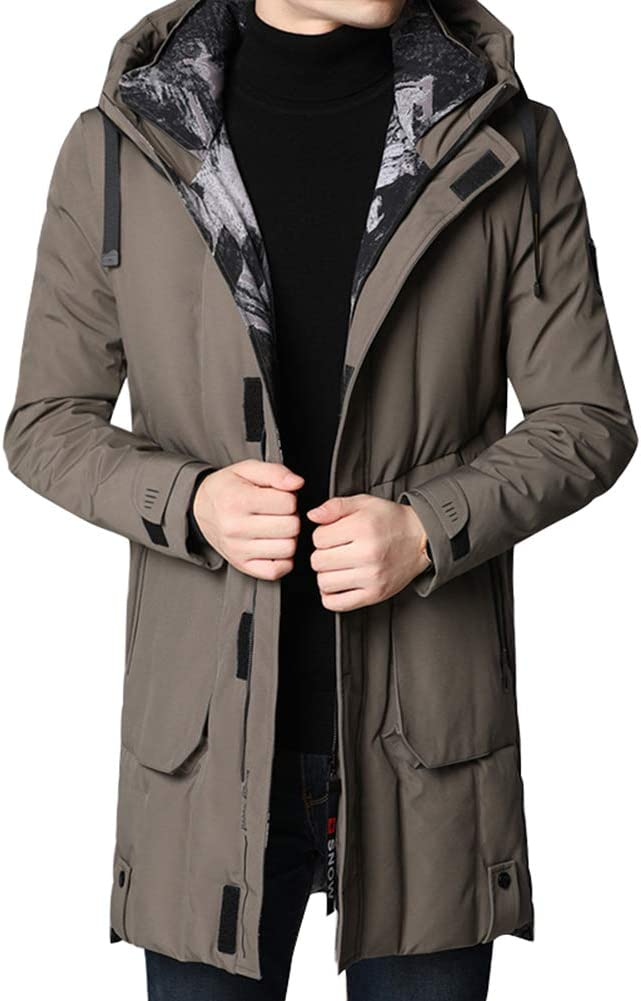 Down jacket Medium Long Hooded Winter Clothing, Middle-Aged Men's Thicken, White Duck Down Casual Jacket, Content: 90% (M, L, XL, 2XL, 3XL)