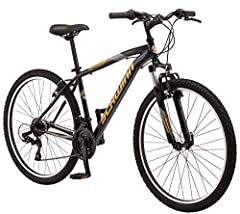 Schwinn mountain frame with Schwinn suspension fork for controlled riding on tough trails Shimano twist shifters with 21 speed rear derailleur for quick gear changes on the trail All terrain, wide knobby mountain tires sit on light and durable alloy ...