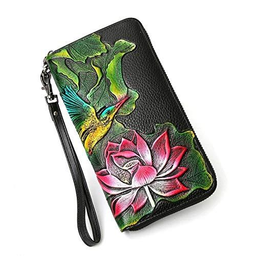 A-hyt Cómoda y cómoda cartera de piel auténtica para mujer, con flores largas, bolsa de embrague de piel de vaca, gran capacidad, fácil caminata (color : cartera de loto hembra, tamaño: A)