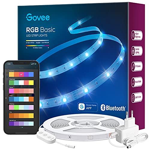 Govee Striscia LED RGB 10m, Intelligente Bluetooth Strisce LED Dimmerabile Multicolore Controllo App, 64 Scene per Sincronizzazione Musicale per Casa, Soggiorno, Cucina, Feste