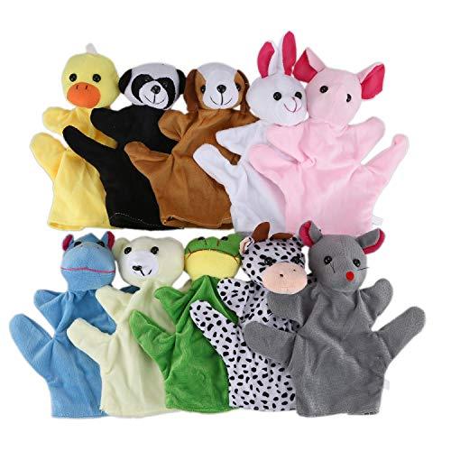 JVSISM Jouets de marionnettes a Main en Forme d'animaux Mignons pour Les Enfants Enfants, Lot de 10 Pieces