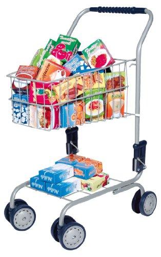 Carro de compra con contenido: surtido de tienda de ultramarinos