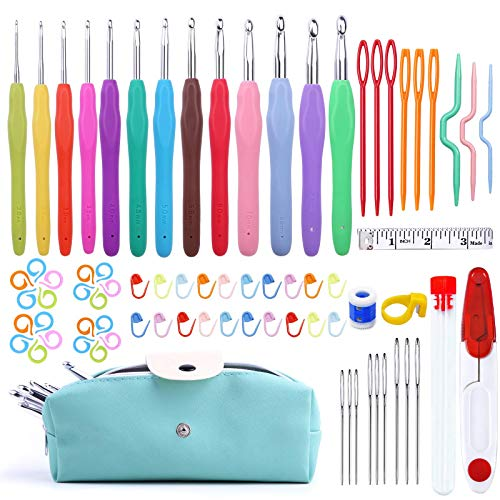 77 Pcs Crochet Hook Set, Aluminum Ergonomic Crochet Hooks with Knitting Needles, Large Eye Blunt Needles, Colorful Crochet Needles, Plastic Stitch Markers, and Case