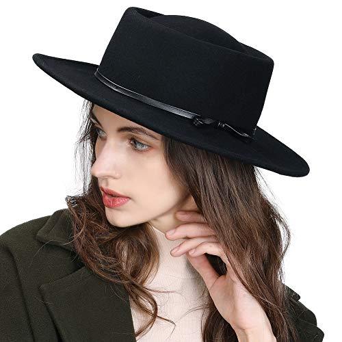 Fancet SIGGI 100% Wolle Filzhut Kirche Hüte für Damen Fedorahüte bereit Krempe Hut verschiedene Farben, M, 88350_Schwarz