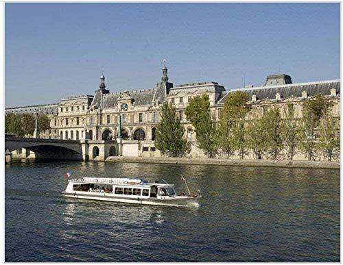REXIAN Kit de Bordado de Punto de Cruz preimpreso Paris Seine Cruise 11CT DIY para Sala de Estar para Adultos Dormitorio Principiante Decoración de Punto de Cruz 16x20 Pulgadas
