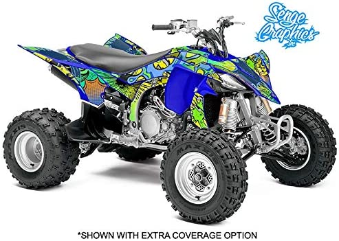 Zany Blue Graphics Kit with blank number plates WITH EXTRA COVERAGE Senge Graphics Kit compatible with Yamaha 2014-2020 YFZ 450R