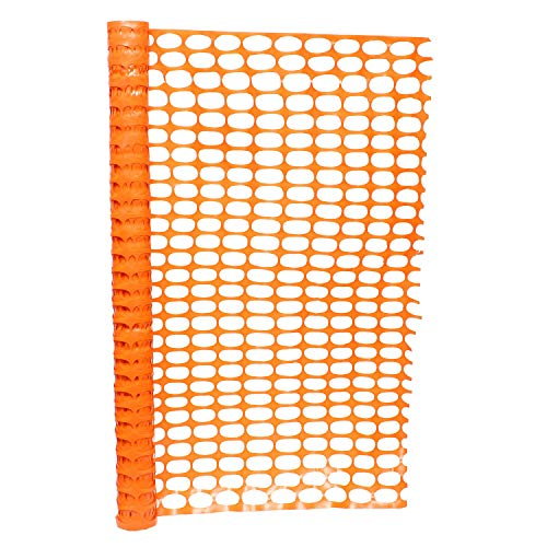 BISupply 4 FT Safety Fence – 50 FT Plastic Fencing Roll for Construction Fencing Pet Fencing and Event Fencing, Orange