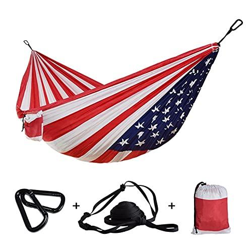 TabloKanvas Hamaca de jardín para colgar en el exterior, tela de paracaídas, hamaca para dormir, para acampar, regalo de día de la independencia (color rojo, tamaño: 270 x 140 cm)