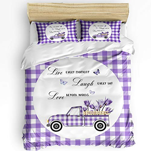 FunDecorArt Ultra Soft Microfiber 3 Piece Bedding Set, Round Purple Truck with Tulips Butterfly Modern Bedroom Comforter Cover with 2 PC Pillowcase King, Purple White Checkered Positive Energy Words