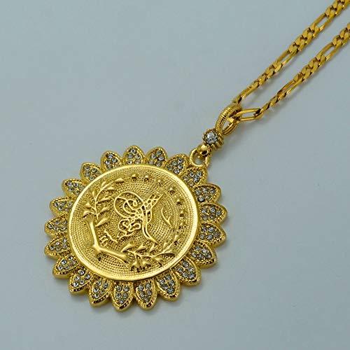 Collar de Monedas de Turquía Mujer Color Oro Joyas árabes Turcos Colgante Cadena Diamante de imitación Turco Antiguo