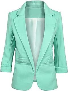 3/4 Sleeve Suit Coat Women Solid Ponte Rolled Blazer Jacket Cardigan