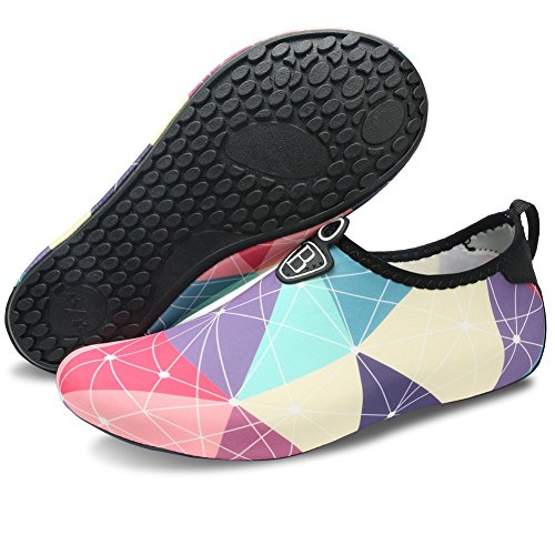 Barerun Barefoot Quick-Dry Water Sports Shoes Aqua Socks for Swim Beach Pool Surf Yoga for Women Men (L(W:8.5-9.5,M:7-7.5), Purple)