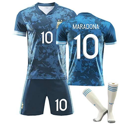 CMYA Maradona 1986 Argentinien Retro Fußballtrikot Vintage Classic Retro Shirt Fußballuniform WM Fußball Gedenk-T-Shirt und Shorts für Kinder,Bring Socks,26