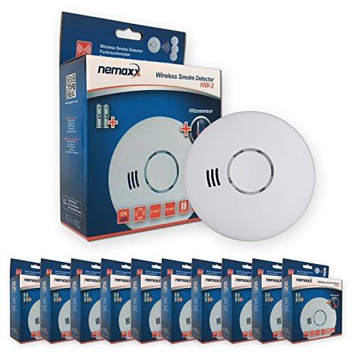 10x Nemaxx HW-2 Funkrauchmelder Rauchmelder Hitzemelder mit kombiniertem Rauch- und Thermosensor nach DIN EN 14604 - Weiss