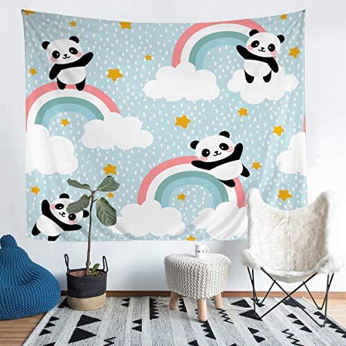 Loussiesd Kinder Wandbehang niedlichen Panda Wandteppich Cartoon Tiermuster Tapisserie für Jungen Mädchen Kinder Teenager Schlafzimmer Dekor Regenbogen Sterne Wandkunst 175x230cm