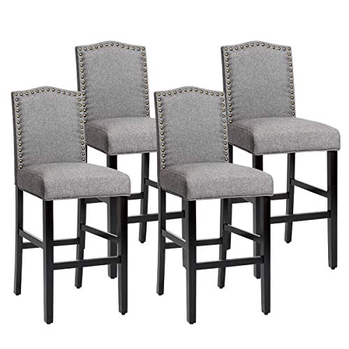 COSTWAY Bar Stools Set of 4, Counter Height Dining Side Barstools, w/ Thick Cushion, Linen Surface, Nailhead Trim, Rubber Wood Legs, High Leisure Chairs for Living Room, Kitchen, Dining Room, Gray