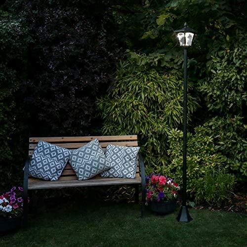Lampadaire Solaire LED en Aluminium Noir 1 Tête - 6 LED Éclairage Blanc - Produit Waterproof pour le Jardin - Intensité Réglable 36 Lumens Max. - Hauteur Ajustable (80cm, 120cm ou 210cm)