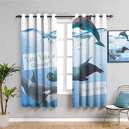 LucaSng Blackout Curtain Thermal Insulated - Cartoon whale dolphin seal - 92x90 inch - for Bedroom Kitchen Living Room Boy Girl Window - 3D Digital Printing Eyelet Ring Curtain