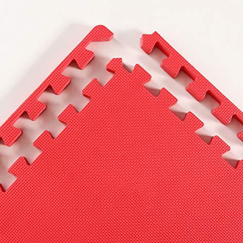 ZXPAG Estera De Espuma Tupido Azulejos Gimnasio Mat Absorción De Impacto para Yoga Entrenamiento De Gimnasia Ejercicio Entrenamiento Físico(5 Tabletas) -,Rojo,50x50x2.5cm