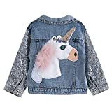 Unicorn Jean Jacket for Girls Kids & Toddler with Sparkly Sleeve, Girls' Outerwear Denim Jackets