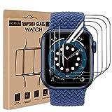 wsiiroon Schutzfolie Kompatibel mit Apple Watch Series 4/5/6/SE 44mm [4 Stück], TPU Flexibel Folie, Anti-Bläschen Panzerglas TPU Clear Bildschirmschutzfolie für iWatch Series 6/5/4/SE 44mm