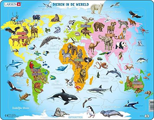 Larsen A34 Los Animales del Mundo, edición en Holandés, Puzzle de Marco con 28 Piezas