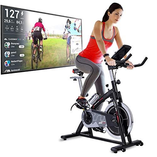 Sportstech Bicicleta Estática | Bicicleta Fitness con Volante de 22 kg - Eventos en Video & App Multijugador, Incl. eBook - Compatible con Pulsómetro - Bicicleta para Casa - hasta 125Kg | SX200