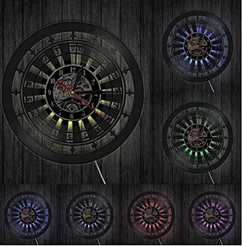 zgfeng Juego de Discos de Vinilo, Ruleta, Reloj de Pared, decoración de Pared, Juego de Cartas, Reloj de Pared, Regalo Artesanal-Sin LED