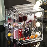 Sooyee Clear 3 Vertical Drawer Earring Display Stand Organizer(216 Holds 108 Pairs), Jewelry Hanger Storage Box