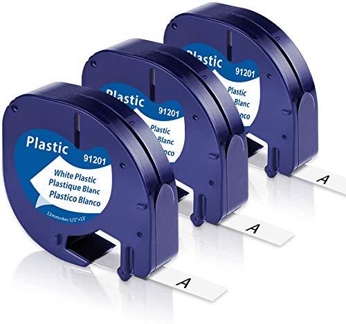 Toplabel Kompatibel Etikettenband als Ersatz für Dymo Letratag Plastic White 12mm x 4m, 91221 S0721660, Letratag XR Bänder schwarz auf weiß für Dymo S0883990 Letratag LT-100H LT-100T Etikettendrucker